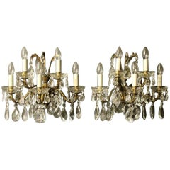 Italian Pair of Gilded Bronze and Crystal Five-Arm Wall Lights