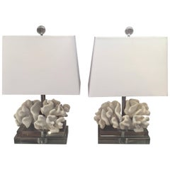 Glam Pair of White Faux Coral and Lucite Table Lamps
