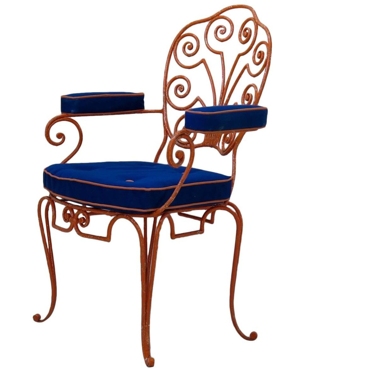 Eight french 1940s wrought iron chairs for sale at 1stdibs