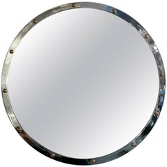 Large Circular Chrome and Brass Mirror