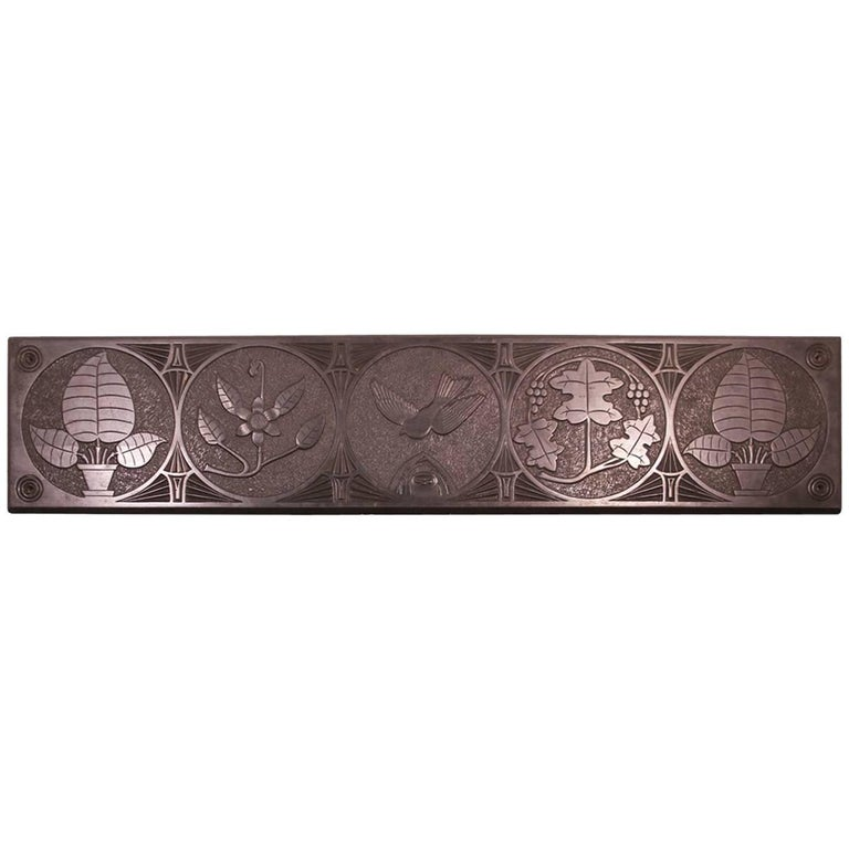 Large Mid-19th Century Decorative Folk Art Carved Slate Panel For Sale