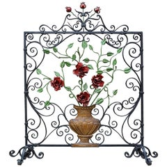 Early 20th Century Handcrafted Wrought Iron Firescreen with Roses in Vase Decor
