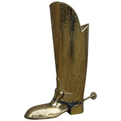Vintage 1950s Spurred Brass Horse Back Riding or Knight Boot Umbrella Stand