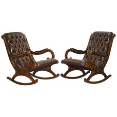 Pair of Brown Leather Chesterfield Slipper Rocking Armchairs Library Reading