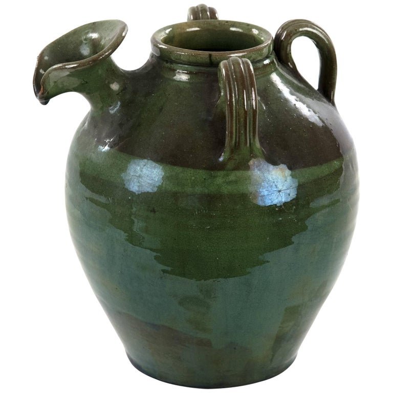 Three-handled French Green Baluster Jug with Spout For Sale