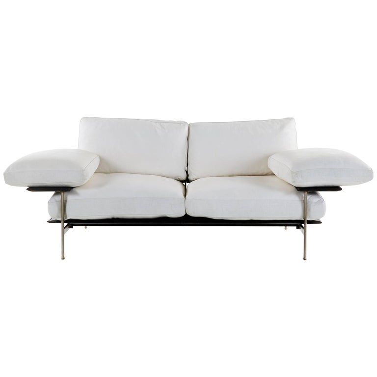 Diesis Sofa in White Leather Designed by Citterio & Nava for B&B Italia, 1979