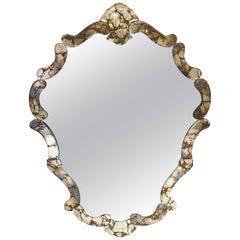 Italian Hollywood Regency Venetian Shield Mirror