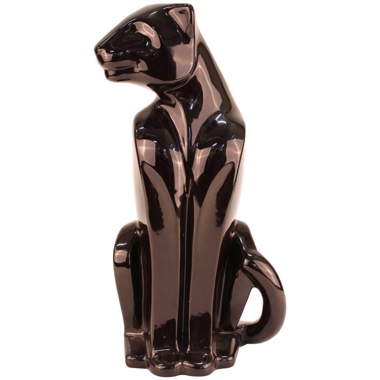 Haeger Art Deco Style Ceramic Black Panther For Sale