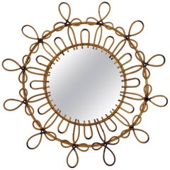 Looped Rattan & Wicker Flower Burst Mirror with Pyrography Details, Spain, 1960s