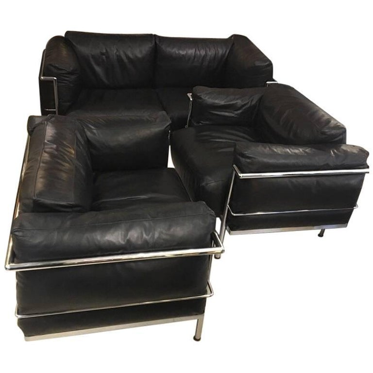 Set of Vintage Sofa and Two Club Chairs by Alivar for Le Corbusier, 1980s