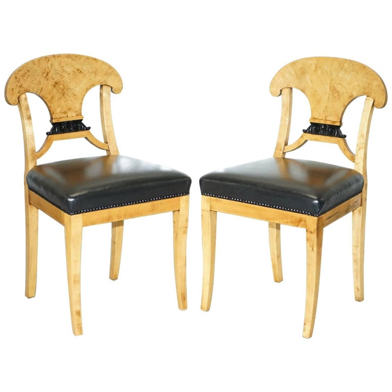 Pair of Stunning Swedish Biedermeier Satin Birch Wood Occasional Chairs Desk