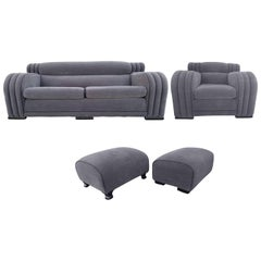 French Art Deco Sofa and Club Chair Set