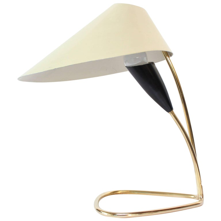 1950s Austrian Brass 'Lily' Table Lamp Attributed to J.T. Kalmar