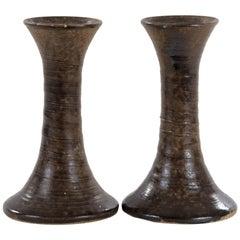Set of Brown Glazed Stoneware Candlesticks