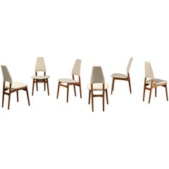 Kurt Østervig, Six Dining Chairs, Oak Frame and Light Beige Fabric, Denmark