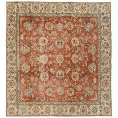 Vintage Distressed Rust Persian Carpet