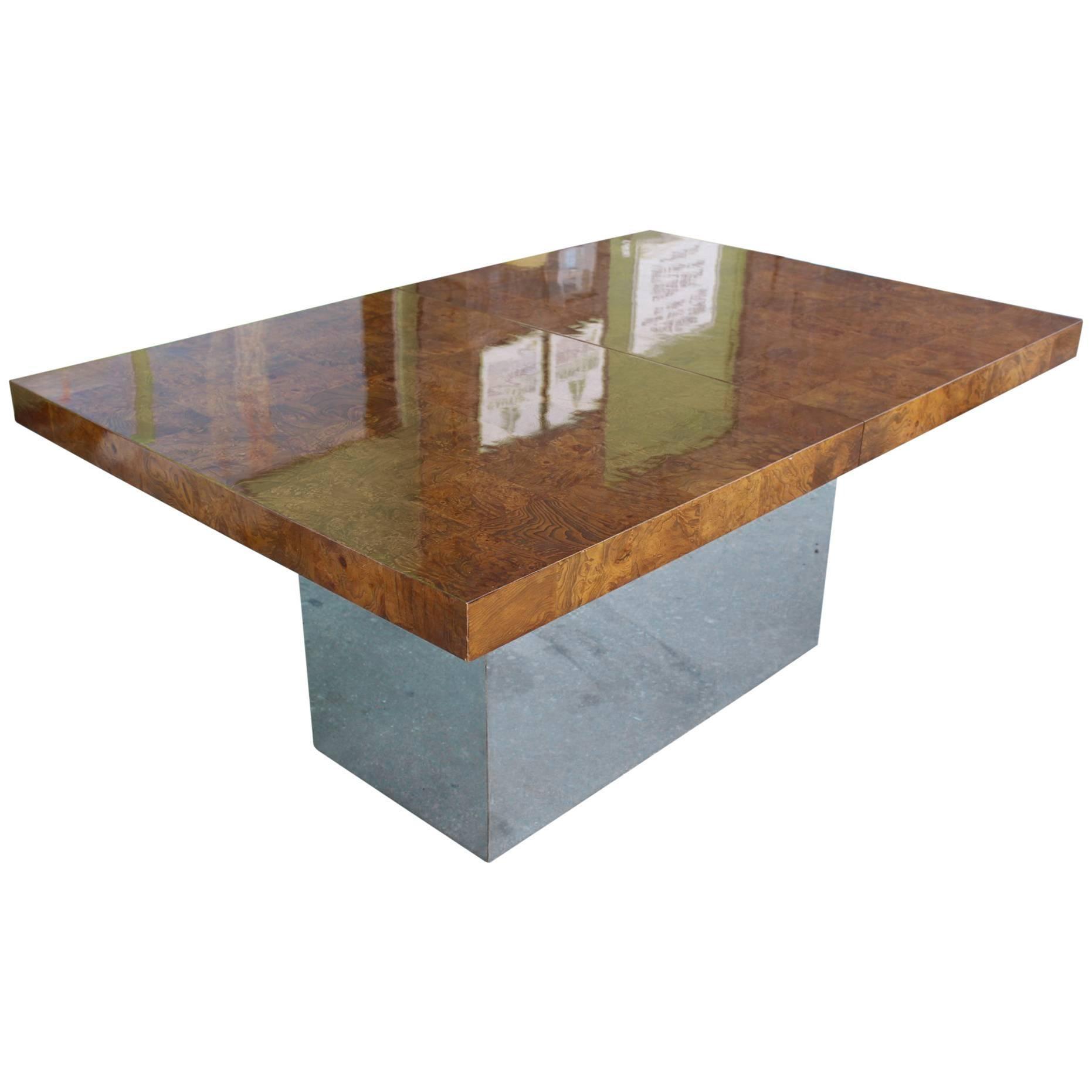 Milo Baughman Extendable Dining Table Of Burl Wood Tiles On Chrome Base