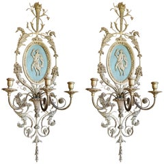 Pair of Silver and Gold Leaf Three-Candle Sconces with Torchieres, 19th Century
