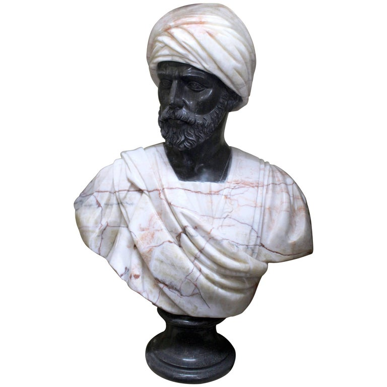 Large Classical Style Carved Marble Bust of Turbaned Man For Sale
