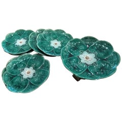 Antique 19th Century Majolica Heron Lily Pad Plates and Compote