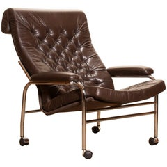 1970s, Lovely Leather and Chrome Lounge Chair Bore by Noboru Nakamura