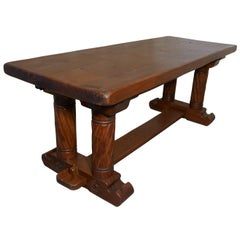 French Arts and Crafts Golden Oak Refectory Table