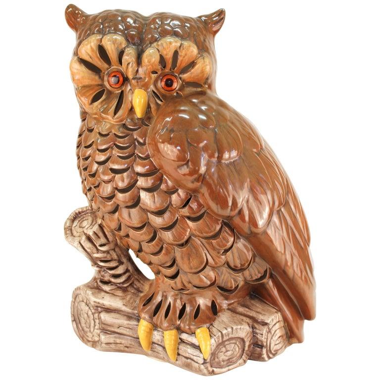 Midcentury Ceramic Owl Table Lamp