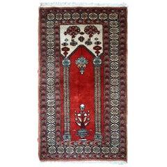 Handmade Vintage Prayer Turkish Konya Rug, 1970s, 1C600