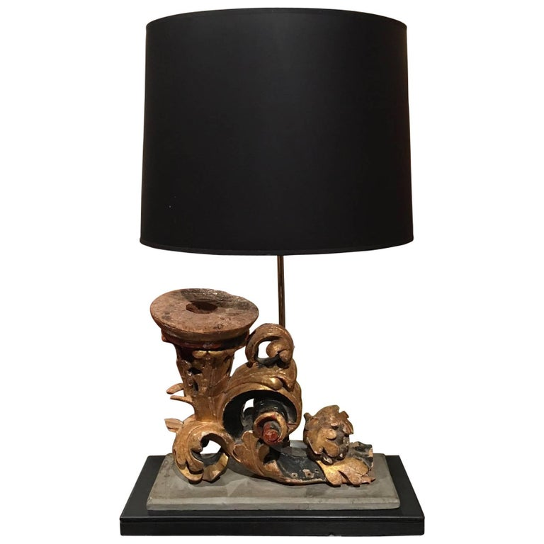 Italian Gilt and Painted Wood Scroll Fragment Adapted as a Lamp, 18th Century For Sale