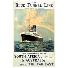 Original Blue Funnel Line Cruise Ship Poster for South Africa Australia Far East