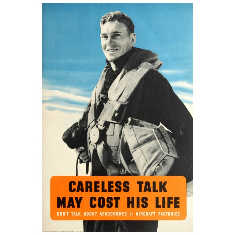 Original British WWII Poster - Careless Talk May Cost His Life - Royal Air Force For Sale