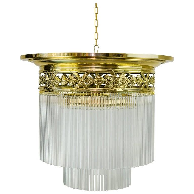 Beautiful and Big Jugendstil Ceiling Lamp with Glass Sticks