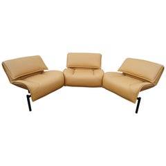 Leather Veranda 3 Sofa by Vico Magistretti for Cassina