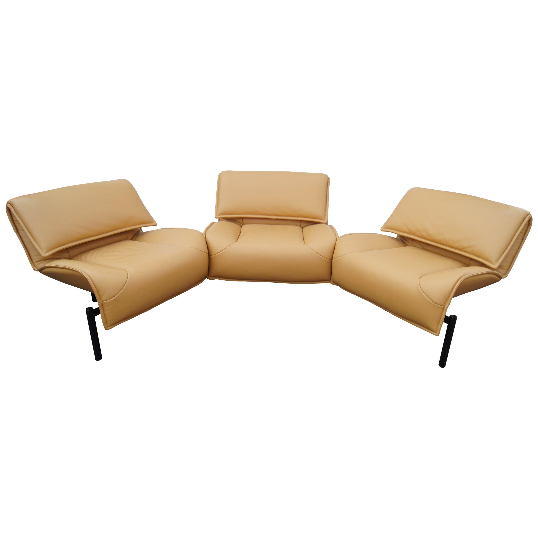 Leather Veranda 3 Sofa by Vico Magistretti for Cassina