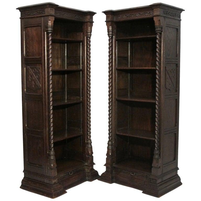 Pair of Spanish Revival Oak Bookcases, American, circa 1920