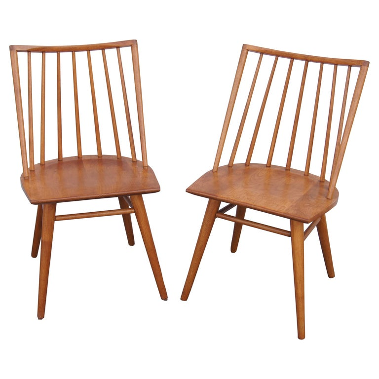 Pair of Modernmates Birch Side Chairs by Leslie Diamond for Conant Ball