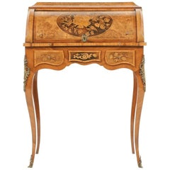 Highly Inlaid French Cylinder Desk