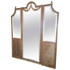 French Painted Three-Panel Mirror with Carving, Late 19th Century