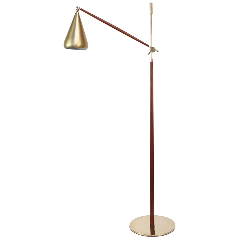 Swedish Brass and Mahogany Adjustable Floor Lamp with Brushed Aluminum Shade