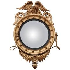 Federal Carved and Gilt Girandole /Convex Mirror, America, circa 1810