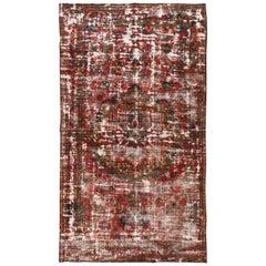 Vintage Distressed Rust and Blue Persian Tabriz Carpet