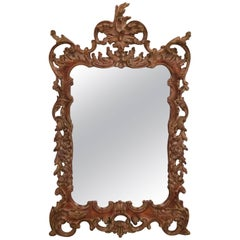 Elaborately Carved Italian Style Wooden Mirror