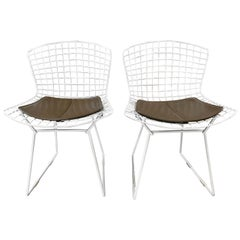 Pair of 1971 Harry Bertoia Side Chairs for Knoll with Original Seat Pads