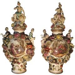 Very Impressive Pair of 19th Century Dresden Vases