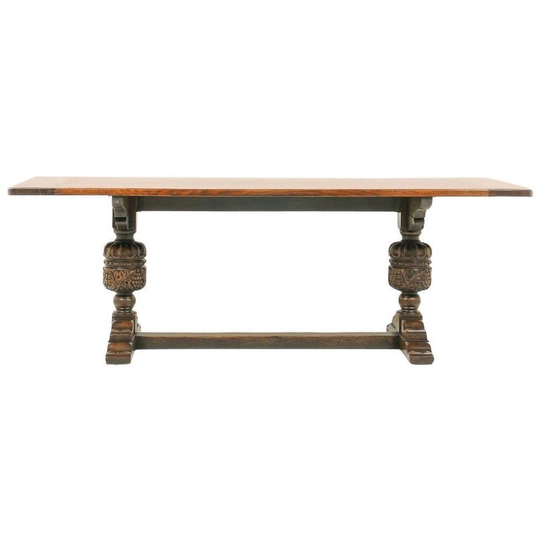 Early 20th Century Solid Oak Trestle Table