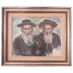 Powerful Freda L. Reiter Pastel Drawing of Rabbis Mid-Century Modern