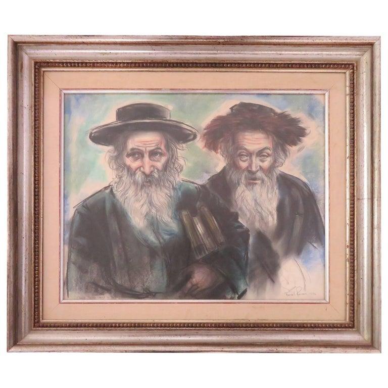 Powerful Freda L. Reiter Pastel Drawing of Rabbis Mid-Century Modern