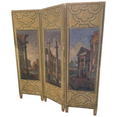 Wonderful 19th Century Continental Painted Screen