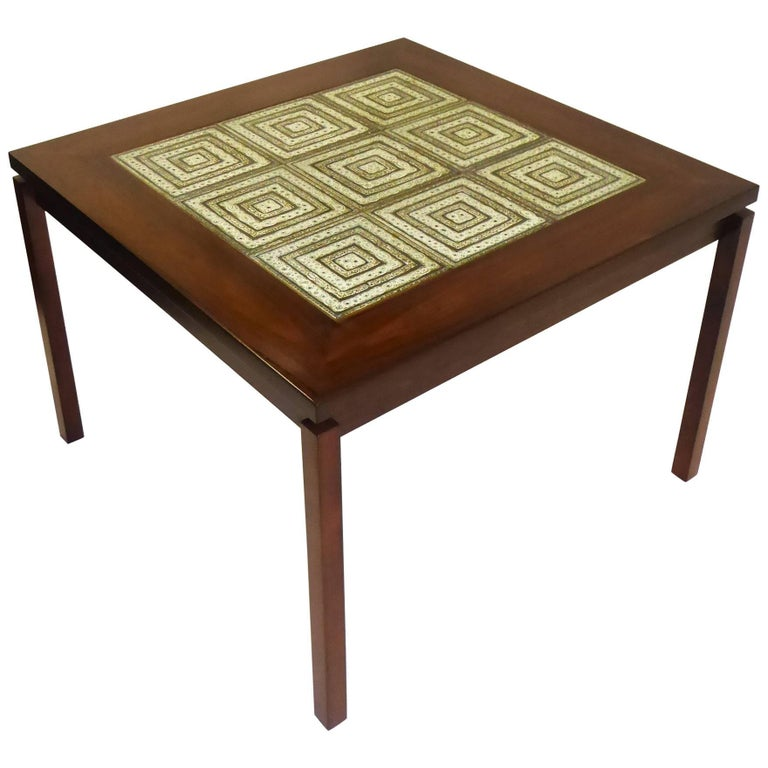 1960s Danish Rosewood Coffee Side Table with Nils Thorsson Tiles