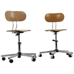 Set of Industrial Chrome Office Chairs